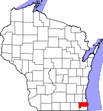 Map of Wisconsin showing Racine County