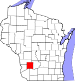 Map of Wisconsin showing Richland County