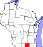 Map of Wisconsin showing Rock County