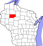 Map of Wisconsin showing Rusk County