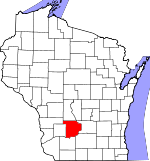 Map of Wisconsin showing Sauk County