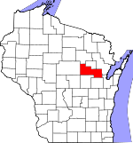 Map of Wisconsin showing Shawano County
