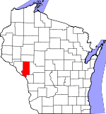Map of Wisconsin showing Trempealeau County