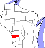 Map of Wisconsin showing Vernon County