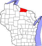 Map of Wisconsin showing Vilas County