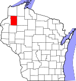 Map of Wisconsin showing Washburn County