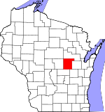 Map of Wisconsin showing Waupaca County