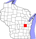 Map of Wisconsin showing Winnebago County