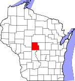Map of Wisconsin showing Wood County