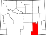 Map of Wyoming showing Albany County