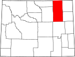 Map of Wyoming showing Campbell County