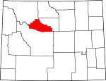 Map of Wyoming showing Hot Springs County