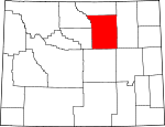 Map of Wyoming showing Johnson County