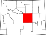 Map of Wyoming showing Natrona County