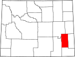 Map of Wyoming showing Platte County