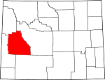 Map of Wyoming showing Sublette County