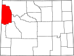 Map of Wyoming showing Teton County
