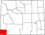 Map of Wyoming showing Uinta County